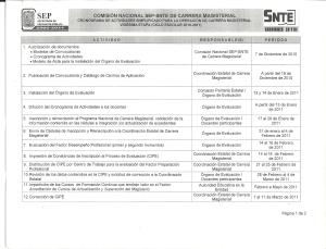 CRONOGRAMA DE ACTIVIDES DE LA VIGÉSIMA ETAPA DE CARRERA MAGISTERIAL